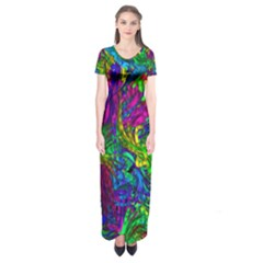 Hot Liquid Abstract A Short Sleeve Maxi Dress