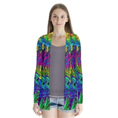 Hot Liquid Abstract A Drape Collar Cardigan