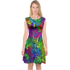 Hot Liquid Abstract A Capsleeve Midi Dress