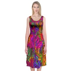 Hot Liquid Abstract B  Midi Sleeveless Dress