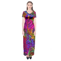 Hot Liquid Abstract B  Short Sleeve Maxi Dress