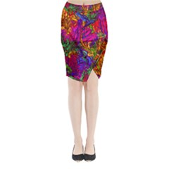 Hot Liquid Abstract B  Midi Wrap Pencil Skirt