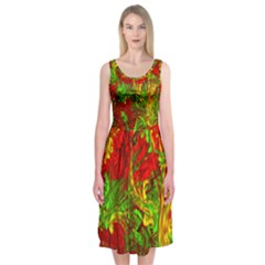 Hot Liquid Abstract C Midi Sleeveless Dress