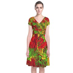 Hot Liquid Abstract C Short Sleeve Front Wrap Dress