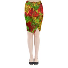 Hot Liquid Abstract C Midi Wrap Pencil Skirt
