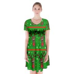 Reindeer Pattern Short Sleeve V Neck Flare Dress
