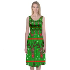 Reindeer Pattern Midi Sleeveless Dress