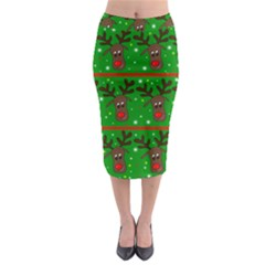 Reindeer Pattern Midi Pencil Skirt