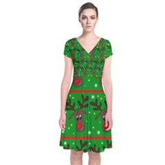 Reindeer pattern Short Sleeve Front Wrap Dress