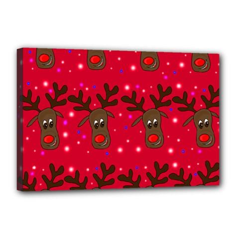 Reindeer Xmas pattern Canvas 18  x 12
