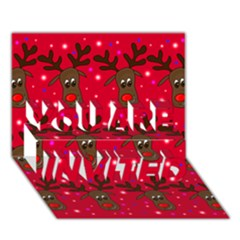 Reindeer Xmas pattern YOU ARE INVITED 3D Greeting Card (7x5)