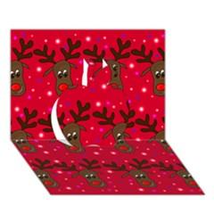 Reindeer Xmas pattern Apple 3D Greeting Card (7x5)
