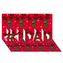 Reindeer Xmas Pattern #1 Dad 3d Greeting Card (8x4)