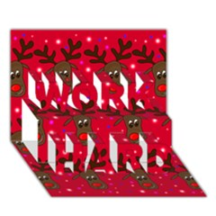 Reindeer Xmas pattern WORK HARD 3D Greeting Card (7x5)