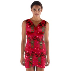Reindeer Xmas pattern Wrap Front Bodycon Dress
