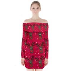 Reindeer Xmas pattern Long Sleeve Off Shoulder Dress