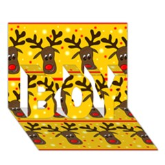 Christmas reindeer pattern BOY 3D Greeting Card (7x5)