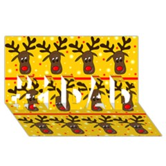 Christmas reindeer pattern #1 DAD 3D Greeting Card (8x4)