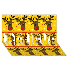 Christmas reindeer pattern BELIEVE 3D Greeting Card (8x4)
