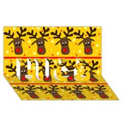 Christmas reindeer pattern HUGS 3D Greeting Card (8x4)