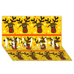 Christmas reindeer pattern ENGAGED 3D Greeting Card (8x4)
