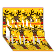Christmas reindeer pattern You Did It 3D Greeting Card (7x5)