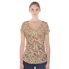Geometric Bold Cubism Pattern Short Sleeve Front Detail Top