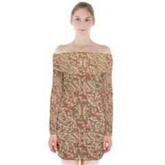 Geometric Bold Cubism Pattern Long Sleeve Off Shoulder Dress