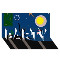 Abstract night landscape PARTY 3D Greeting Card (8x4)