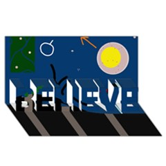 Abstract night landscape BELIEVE 3D Greeting Card (8x4)