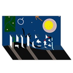 Abstract Night Landscape Hugs 3d Greeting Card (8x4)