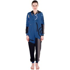 Abstract night landscape Hooded Jumpsuit (Ladies)