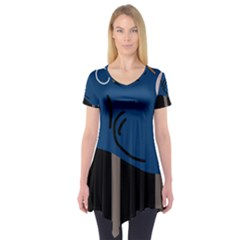 Abstract Night Landscape Short Sleeve Tunic