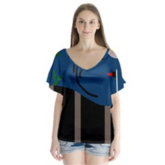Abstract Night Landscape Flutter Sleeve Top