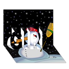Lonely snowman GIRL 3D Greeting Card (7x5)
