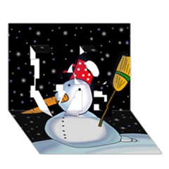 Lonely snowman LOVE 3D Greeting Card (7x5)