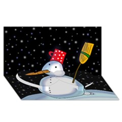 Lonely snowman Twin Heart Bottom 3D Greeting Card (8x4)