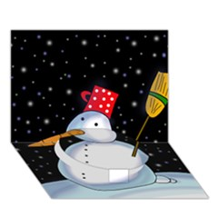 Lonely snowman Circle Bottom 3D Greeting Card (7x5)