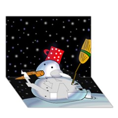 Lonely snowman LOVE Bottom 3D Greeting Card (7x5)