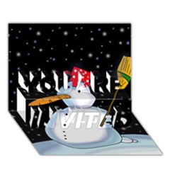 Lonely snowman YOU ARE INVITED 3D Greeting Card (7x5)