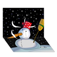 Lonely snowman Clover 3D Greeting Card (7x5)