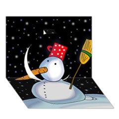 Lonely snowman Circle 3D Greeting Card (7x5)