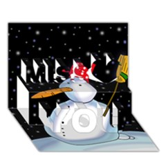 Lonely snowman Miss You 3D Greeting Card (7x5)