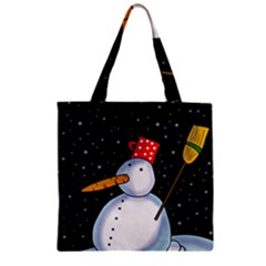 Lonely snowman Zipper Grocery Tote Bag