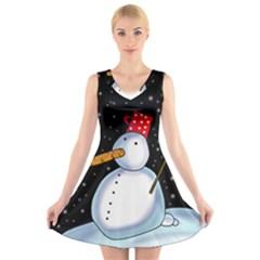 Lonely snowman V-Neck Sleeveless Skater Dress