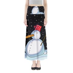 Lonely snowman Maxi Skirts