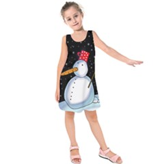 Lonely snowman Kids  Sleeveless Dress