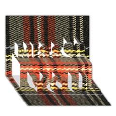 Fabric Texture Tartan Color  Miss You 3D Greeting Card (7x5)