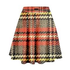 Fabric Texture Tartan Color  High Waist Skirt