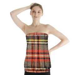 Fabric Texture Tartan Color  Strapless Top
